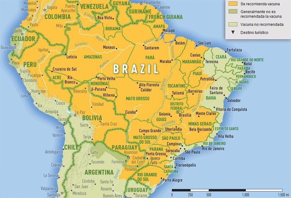 Mapa del riesgo de fiebre amarilla en Brasil