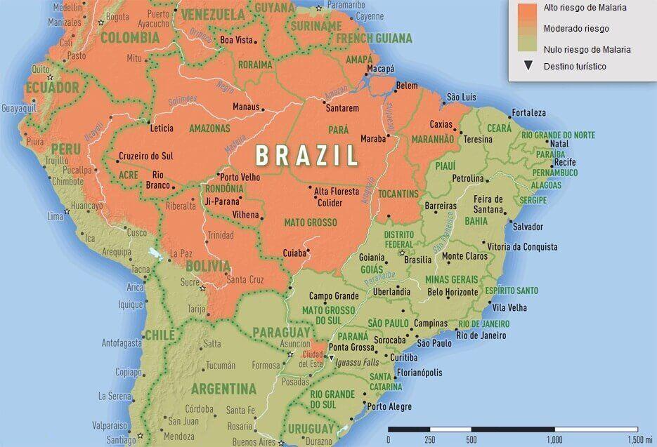 Mapa del riesgo de malaria en Brasil