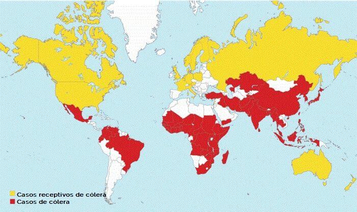 Mapa del cólera en el mundo