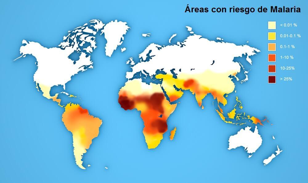 Mapa de riesgo de Malaria en el mundo