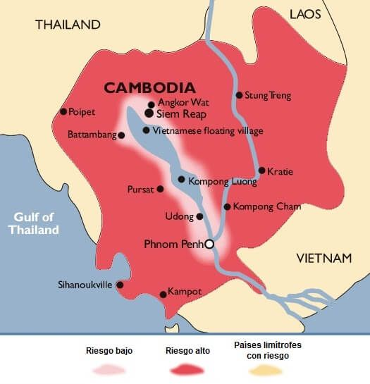 Mapa del riesgo de malaria en Camboya